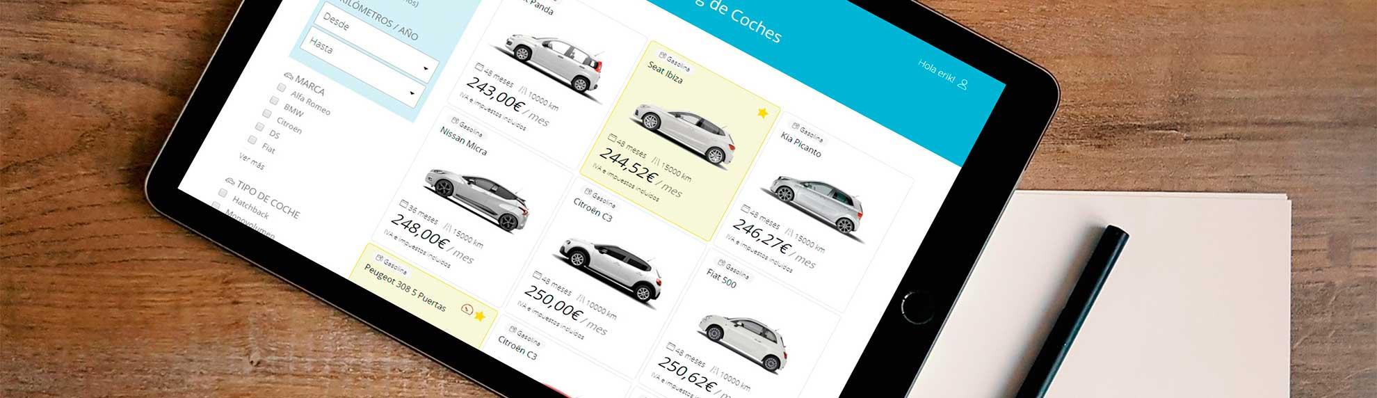 Listado de ofertas de renting de coche