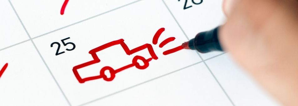 dibujo de un coche rojo en un calendario