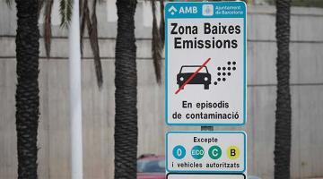 Cartel restricción tráfico barcelona