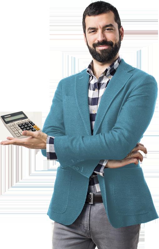 Hombre con calculadora idoneo
